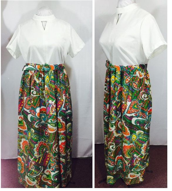 Vintage Dress Bright Colorful Maxi Dress Psychedlic Paisley Print with Matching Belt Mid Century Fashion by OffbeatAvenue on Etsy