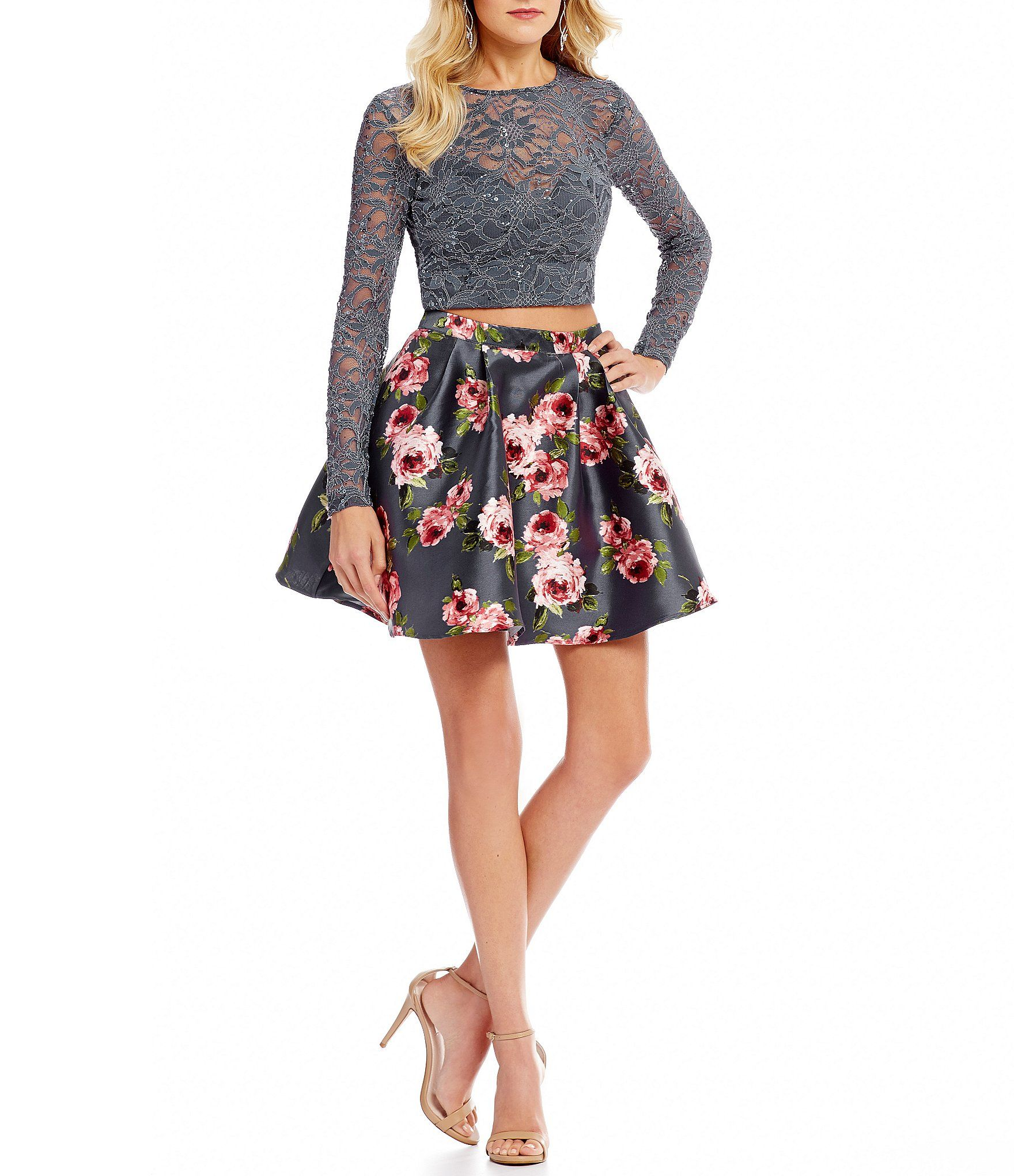 789e79cbbec5 B Darlin Long Sleeve Top with Floral Print Skirt TwoPiece Dress #Dillards