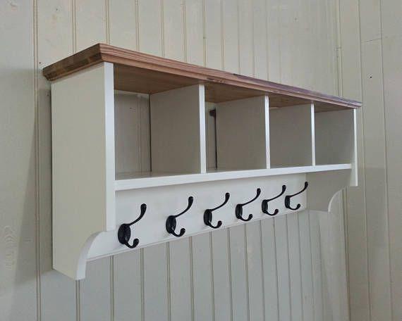 Hat Coat Rack With Shelf Including Storage Baskets Etsy Coat Rack Shelf Coat Rack Wall Shelf Baskets Storage