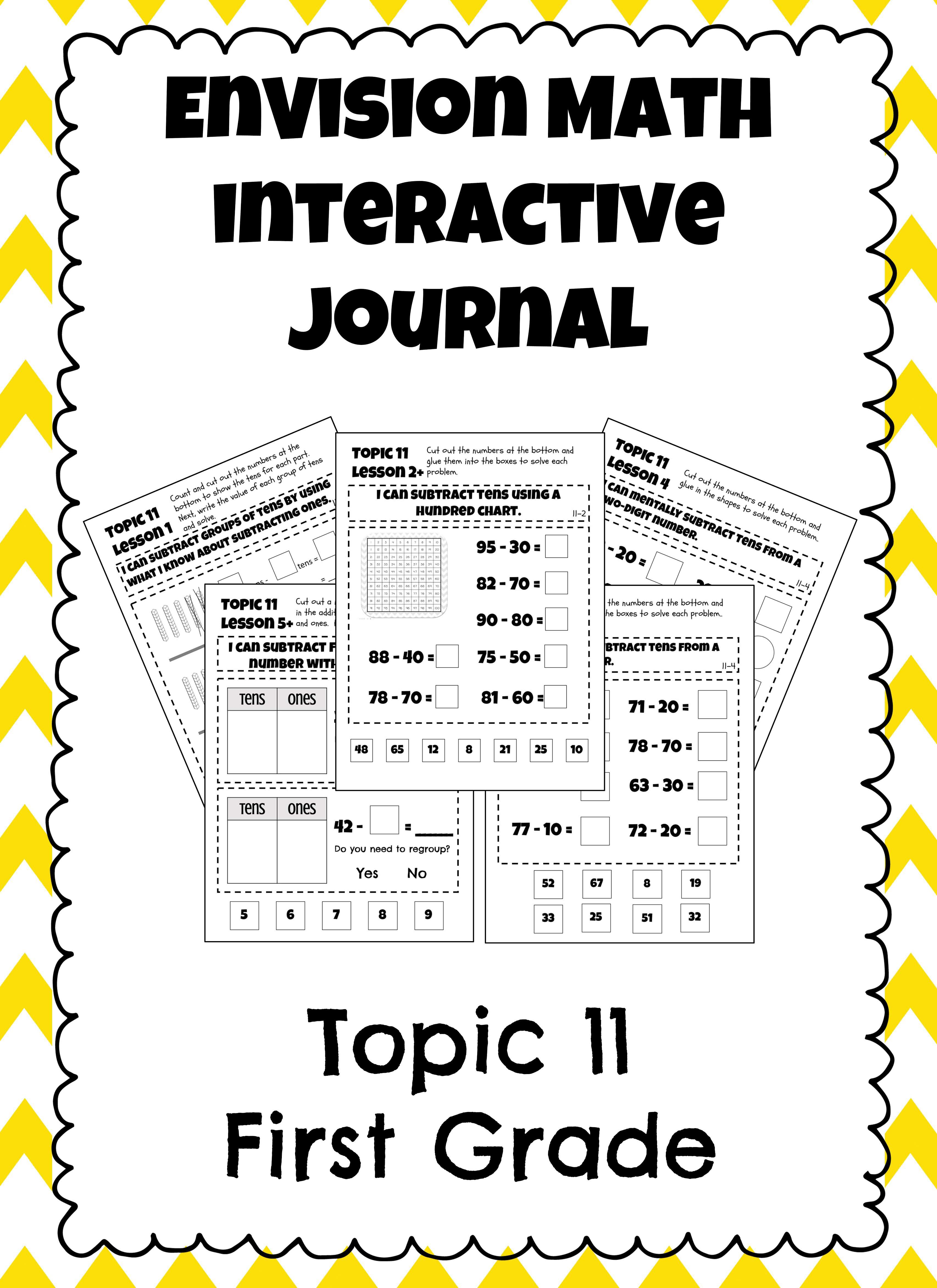 First Grade Envision Math Topic 11 Interactive Notebook Interactive Math Journals Envision Math Interactive Journals