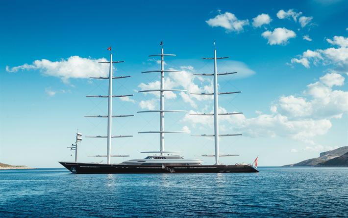 تحميل خلفيات السفن الحديثة المراكب الشراعية فاخر يبحر اليخت الصقر المالطي Pleon محدودة Perini Navi Sailing Luxury Yachts Boat