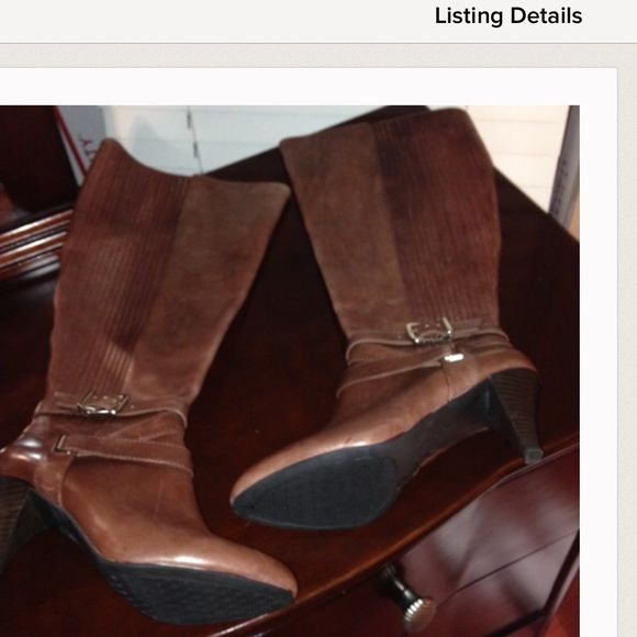 Gianni Bini leather boots Distressed brown leather 3 inch heel wore one time medium width Gianni Bini Shoes Heeled Boots