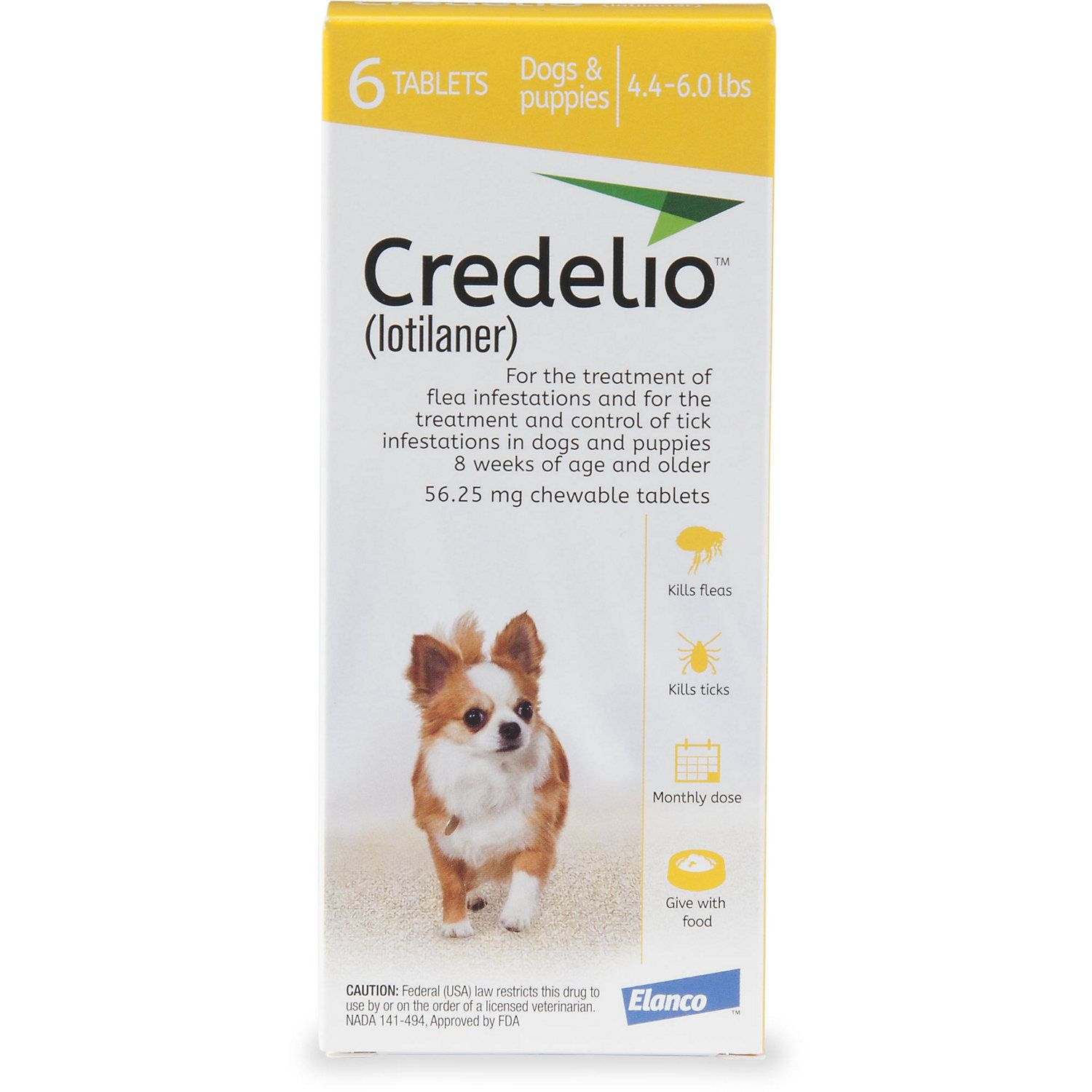 Credelio Chewable Tablets For Dogs 4 4 6 Lbs Yellow 6 Pack Petco Brown Dog Tick Dogs American Dog