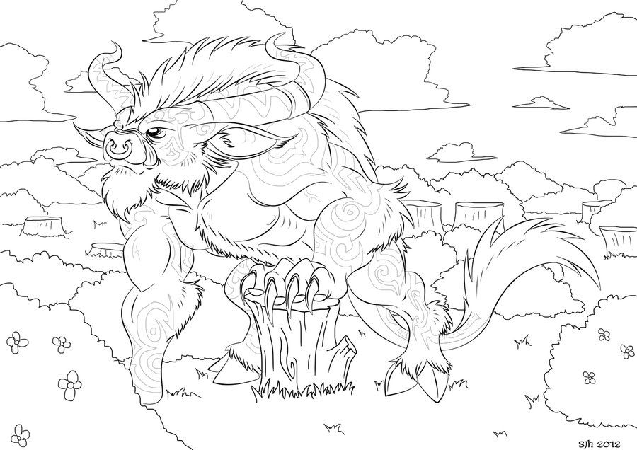 Minotaur Coloring In Page 11 By Darkly Shaded Shadow On Minotaur Coloring Pages