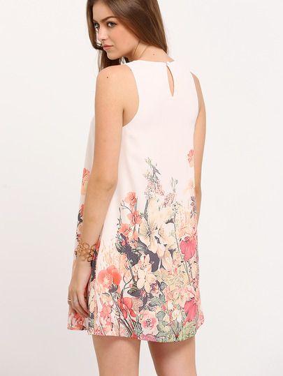 Robe longue motif fleuri sans manche multicolore