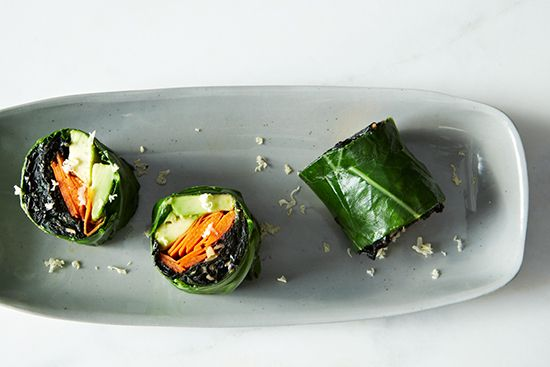 Collard Roll-Ups with Coconut Curry Kale | goop.com
