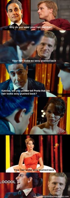 "The Hunger Games Mean Girls of Panem Tumblr meme ""Peeta you look sexy with your hair pushed back"""