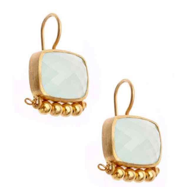 Vasant Designs Chalcedony and Gold 24k Vermeil Earrings E213