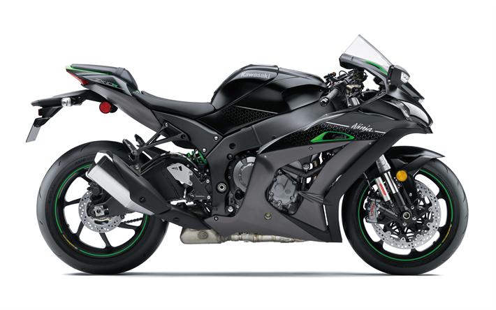 Herunterladen Hintergrundbild Kawasaki Zx 10r Se 2018 Seitenansicht Schwarz Sport Bike Besthqwallpapers