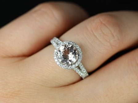 Morgan 14kt White Gold Thin Morganite Round Halo with a Split Band Engagement  Ring (Other