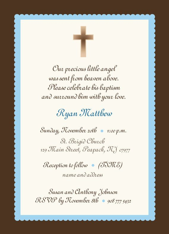 Baby Boy Baptism Invitation Or Girl Blue