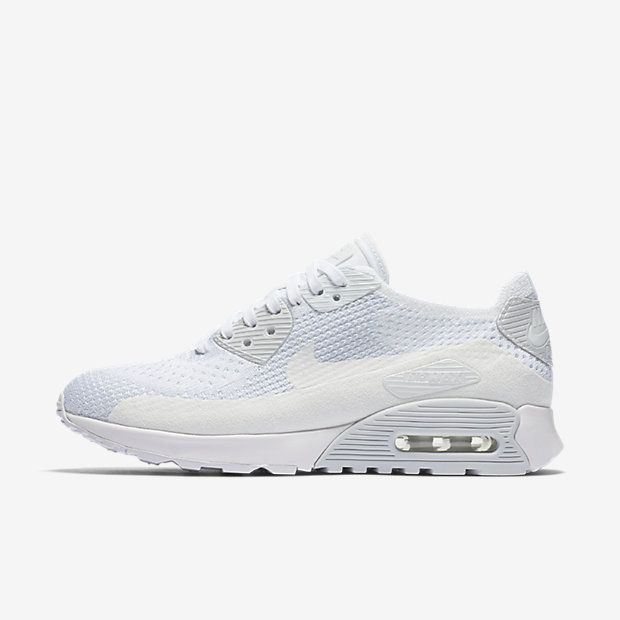 wholesale dealer 45159 20f57 Chaussure Nike Air Max 90 Pas Cher Femme Ultra 2 0 Flyknit Blanc Platine  Pur Blanc