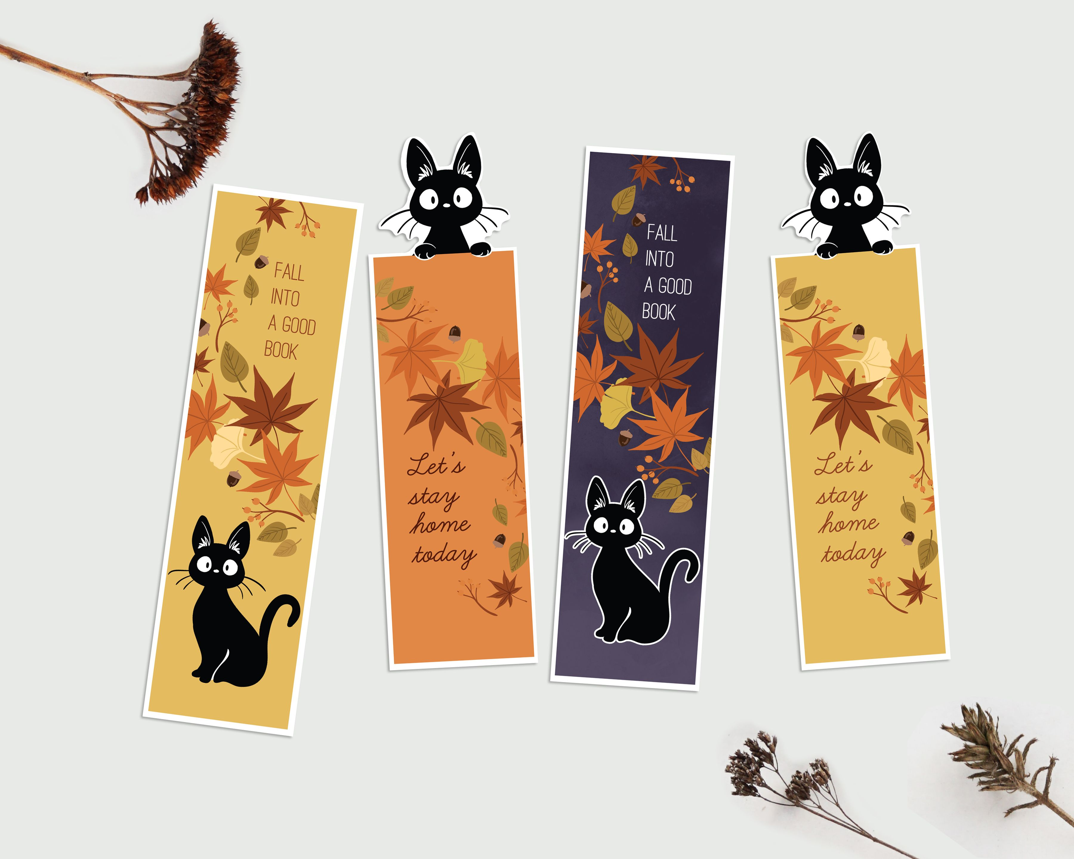 Printable Cat Autumn Bookmarks Printable Bookmark Halloween Etsy Autumn Bookmark Bookmarks Printable Bookmarks