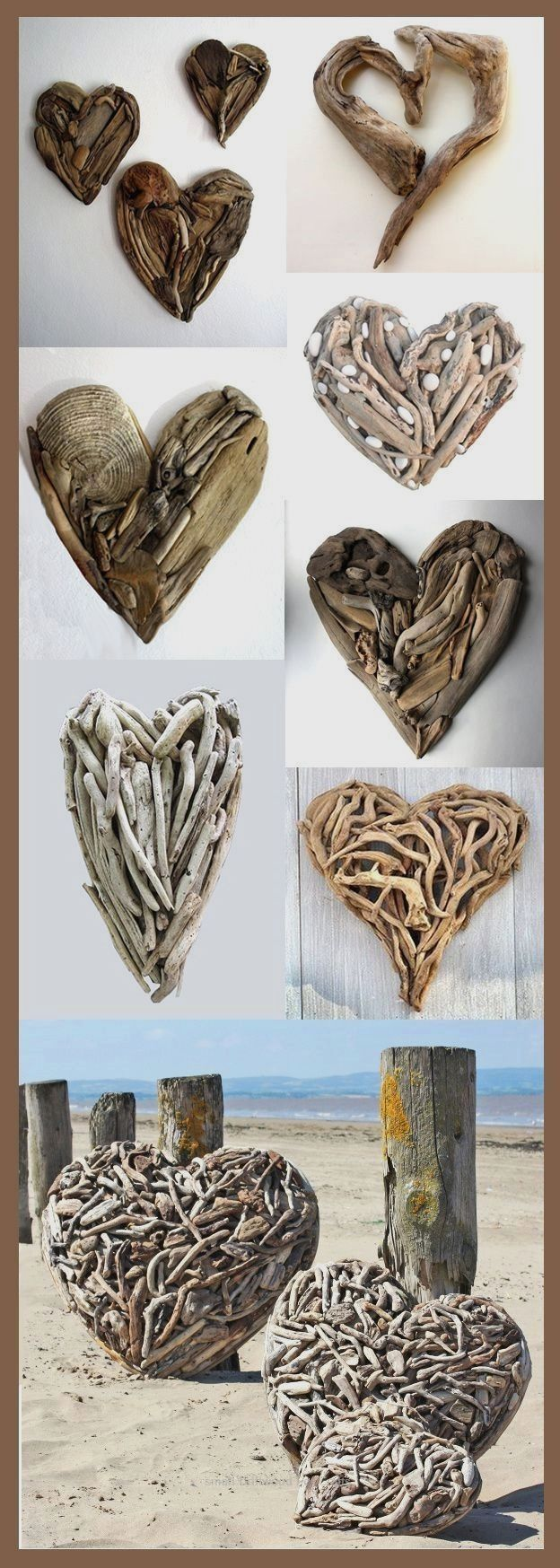 LoveinDIY 250 Natural Driftwood Pieces Branch Slices for DIY Arts Crafts Sculpture Coastal Wall Art 1298  an accumulation of driftwood hearts found on Pinterest