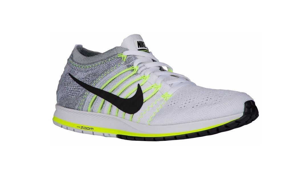 7d5844d6594 Nike Zoom Flyknit Streak Running Shoes Mens 7 White Black Volt 835994 100   Nike  RunningCrossTraining