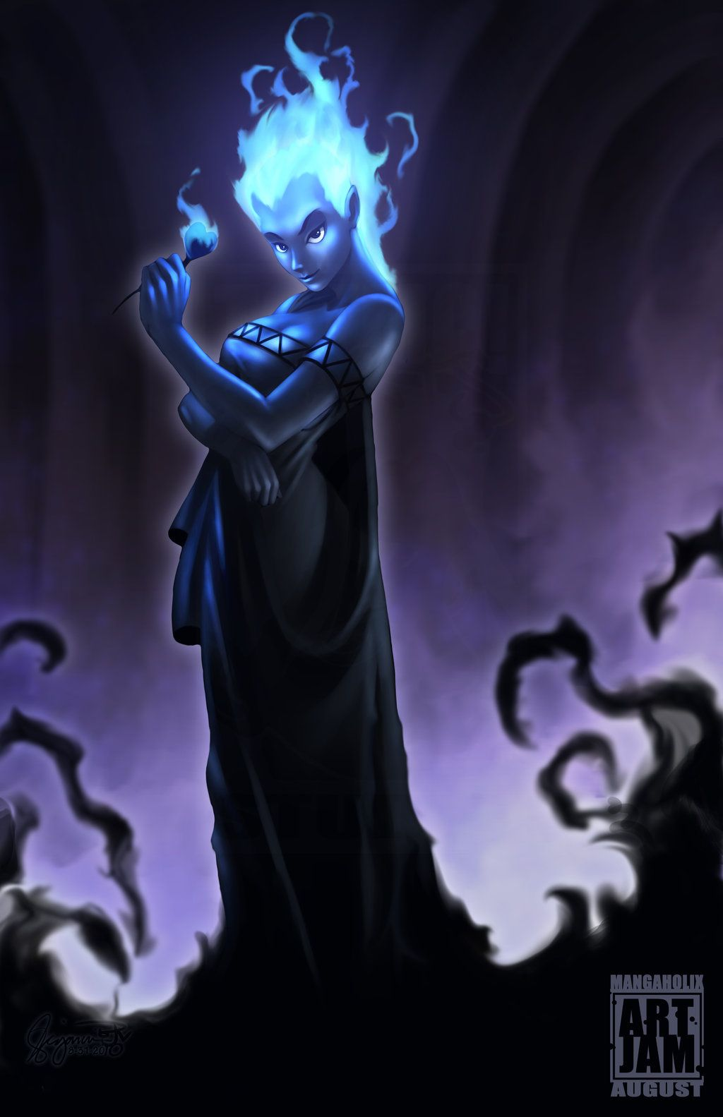HADES (female) Note: Strapless dress? Cuff at arms? | Female Hades