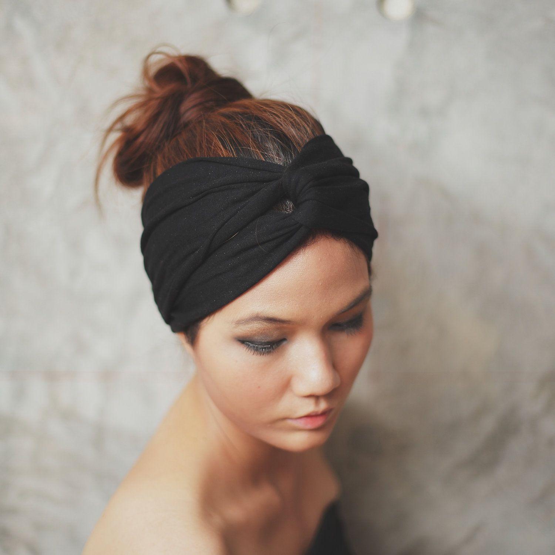 Super Black, Turban Twist headband, Plain color collection. $12.50, via Etsy.