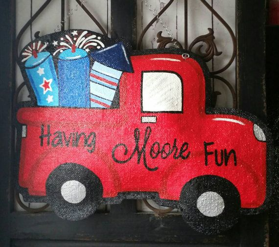 Fireworks Truck Fourth Of July Burlap Door Hanger