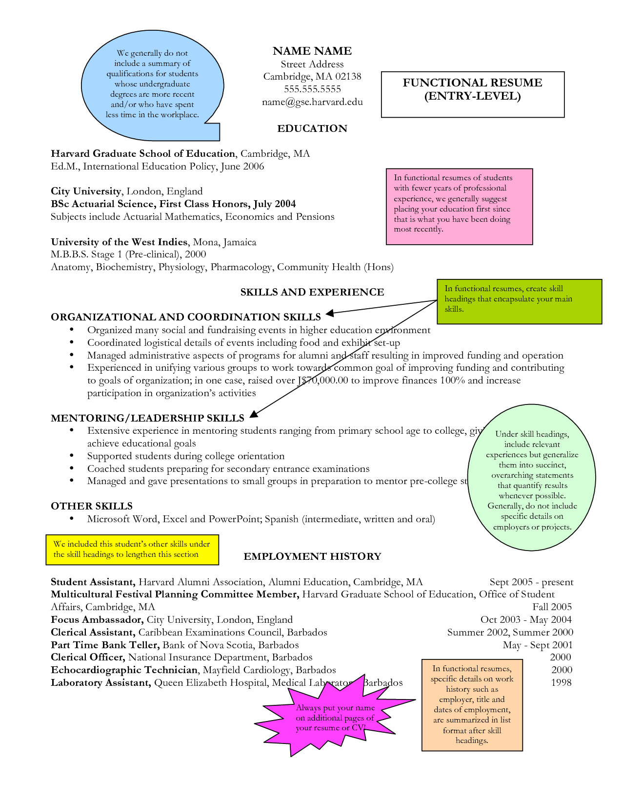 Combination Resume Template Entry Level Functional Resume  Google Search  Administrative