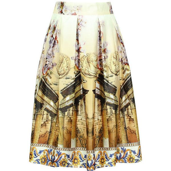 Flore Printed A-Line Skirt (£19) ❤ liked on Polyvore featuring skirts, a-line skirts, brown skirt, knee length a line skirt and brown a line skirt