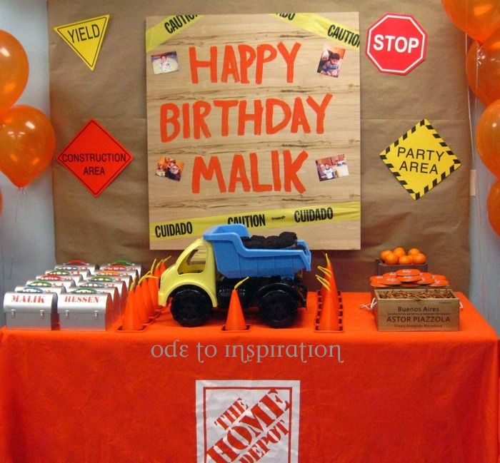 Home Depot Party Construction Theme 4th Birthday Parties Fun