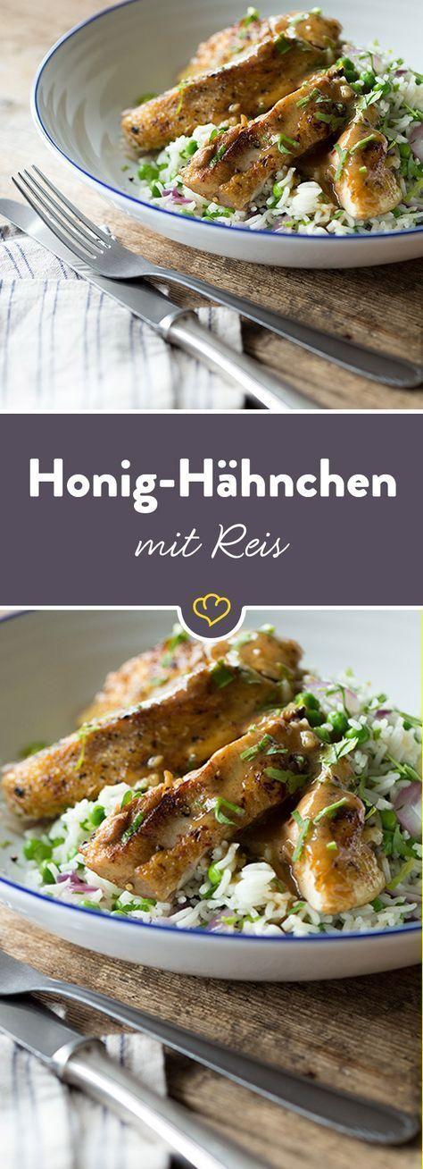 Honig-Hähnchen mit Erbsen und Basmati-Reis #chinesefood