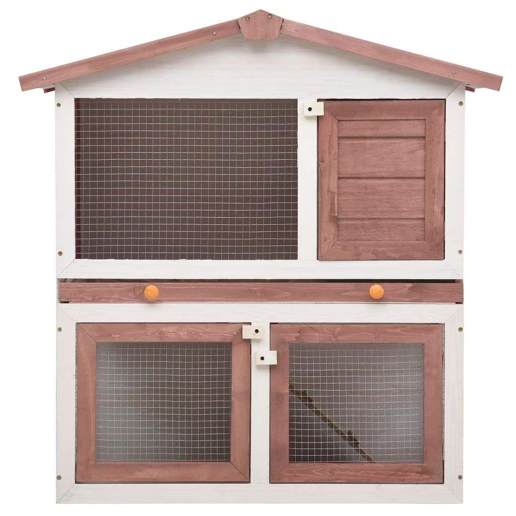Outdoor Rabbit Hutch 3 Doors Brown Wood
