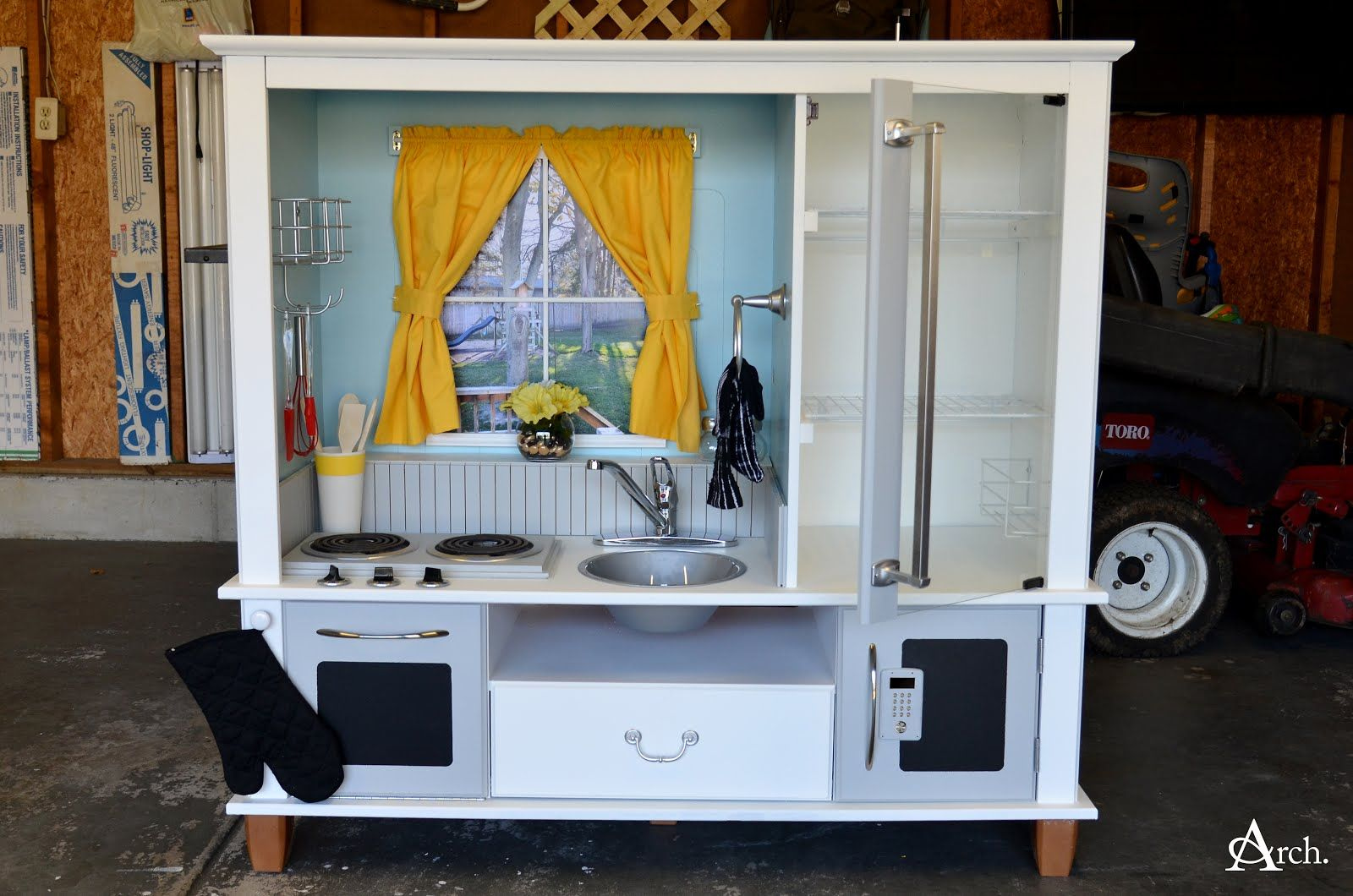 Andrea Arch: DIY: Play Kitchen from Entertainment Center | 1 ...