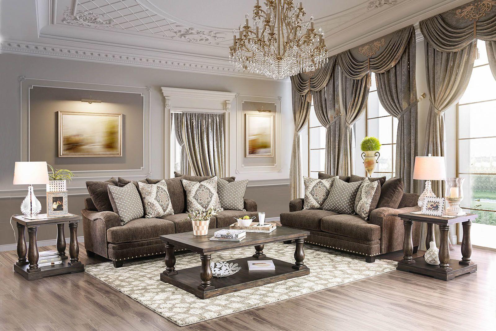 Pauline Sofa SM3075/CM4455 Furniture Of America Fabric ...