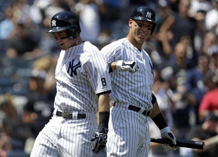 Tyler Austin Aaron Judge Hit Back To Back Homers In Yankees Debut As Bombers Blast The Rays 8 4 Tyler Austin Yankees New York Yankees