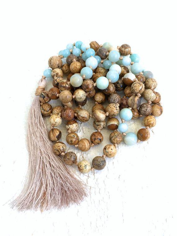 Picture Jasper Mala Beads Amazonite Mala Necklace Mala Beads
