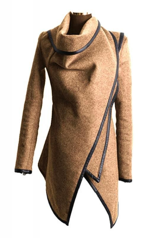 Irregular Long Sleeve Tweed Winter Trench Coat [ AlbertoFermaniUSA ...