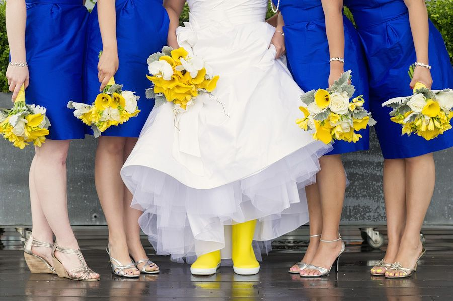 34 Yellow Rain Boots And Cute Silver Shoes For Bride Bridesmaids