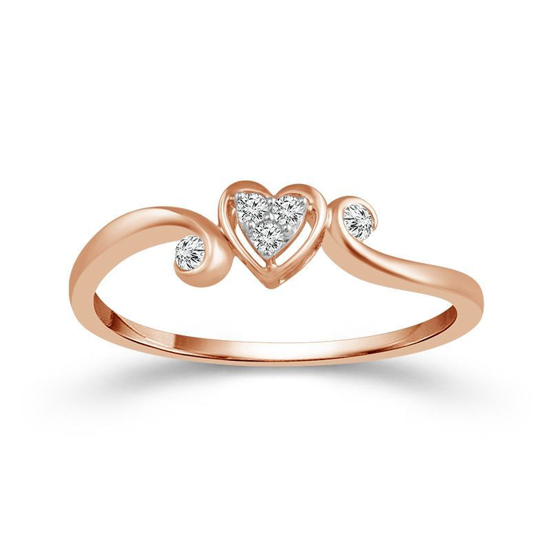 10k Rose Gold Heart Shaped Cluster Diamond Promise Ring Rose Gold Engagement Ring Heart Shaped Rings Rose Engagement Ring
