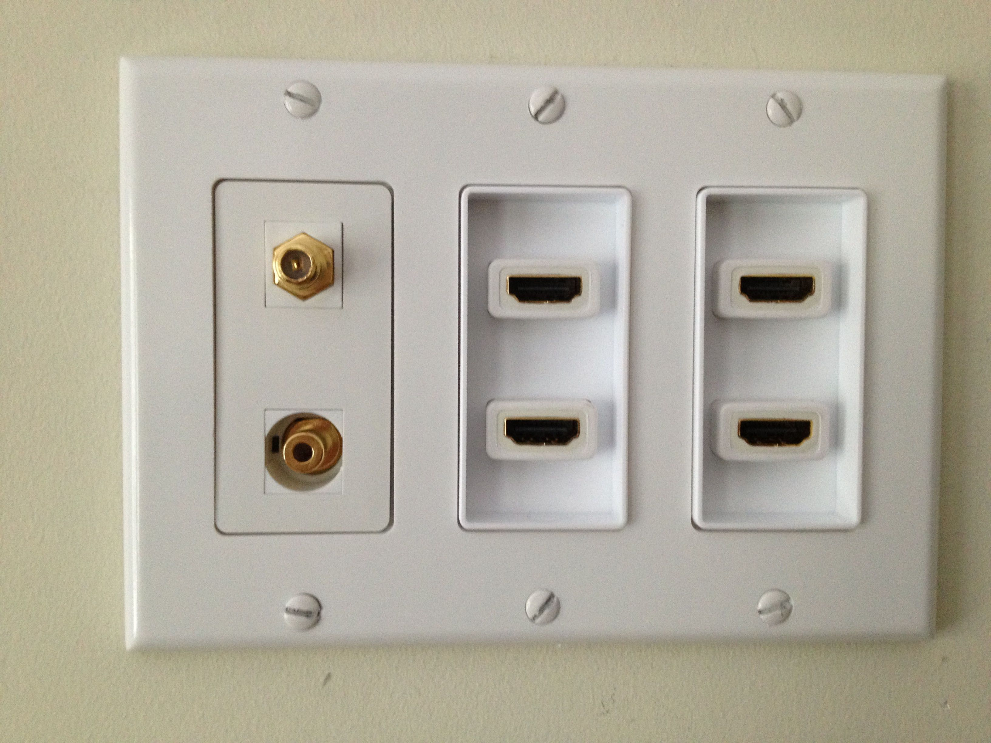 medium resolution of 2 x 2 port hdmi decora insert coax keystone and 3 5mm stereo keystone jack connection installed behind the tv