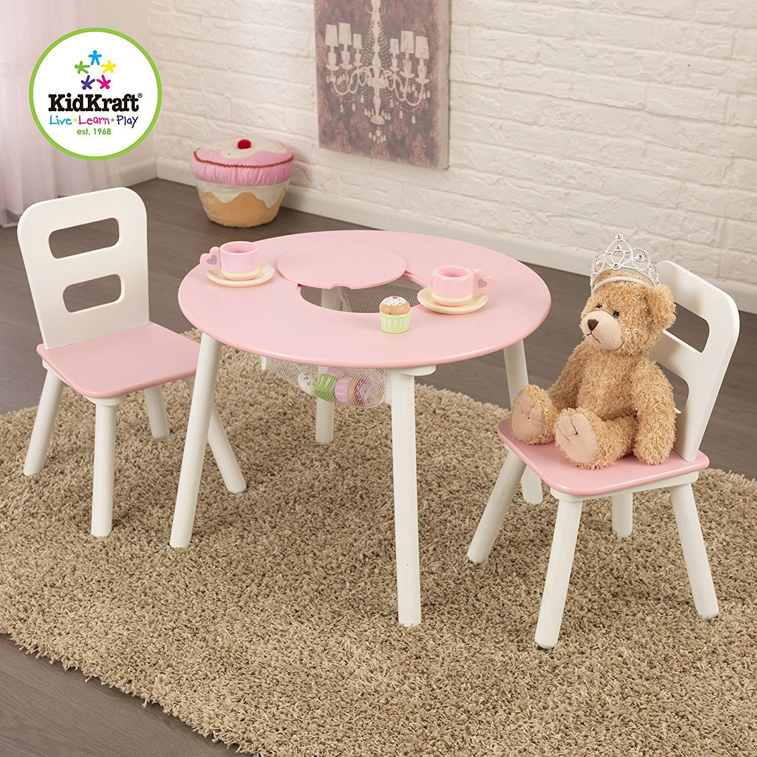Awesome Amazon Com Kidkraft Round Table And 2 Chair Set White Pink Machost Co Dining Chair Design Ideas Machostcouk