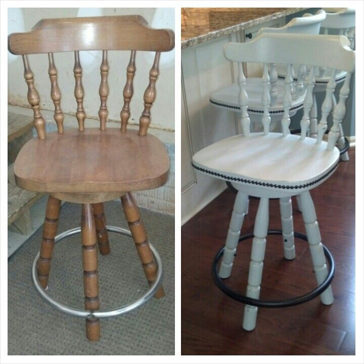 Before After Annie Sloane Chalk Paint Barstools Revamp