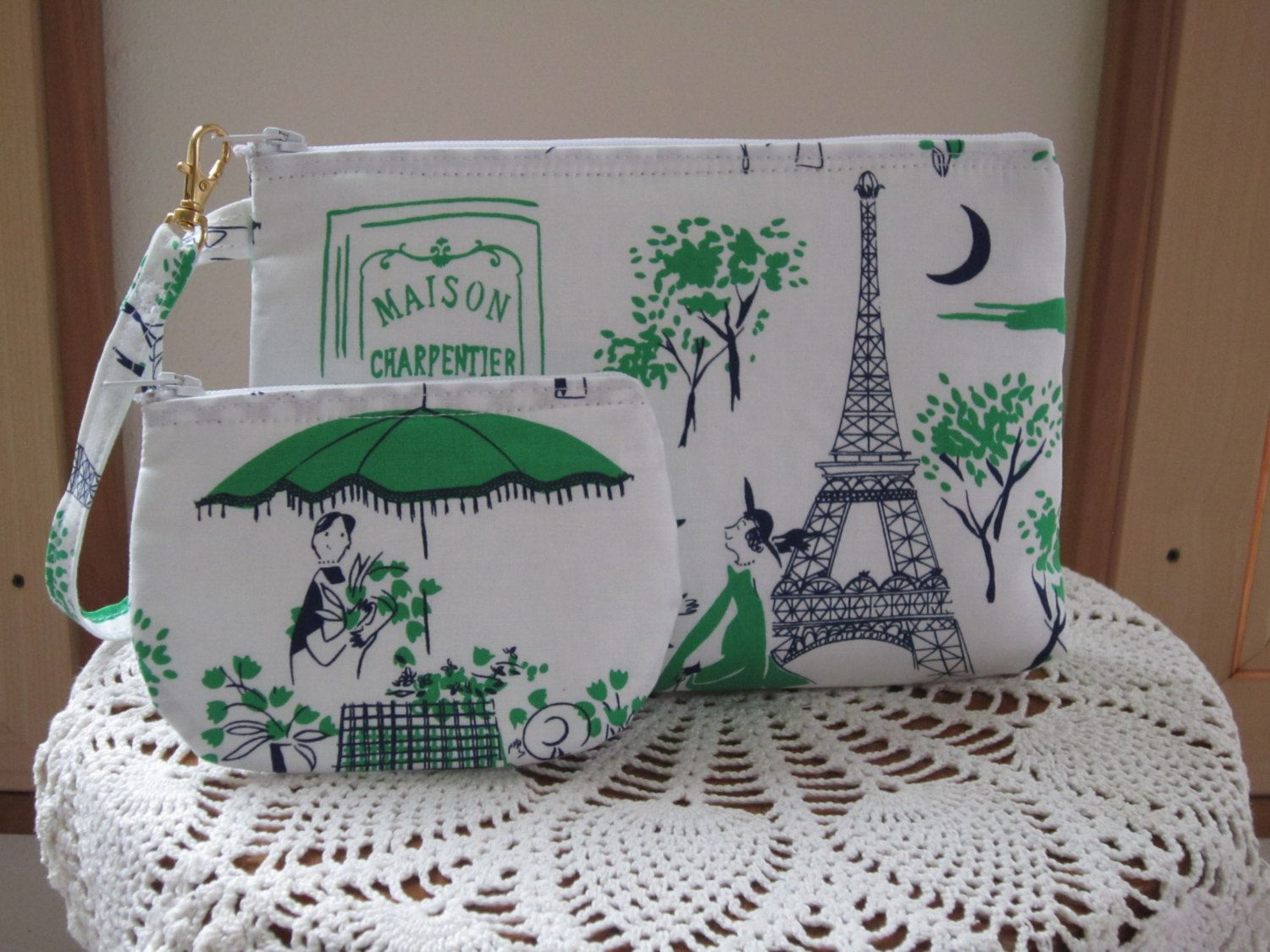 Wristlet Case Purse Clutch Iphone Smart phone  Pouch   Zipper Gadget Pouch Set Eiffel Tower Dreams - pinned by pin4etsy.com