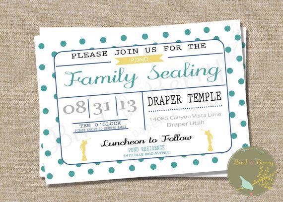 LDS Family Temple Sealing Invitation Adoption