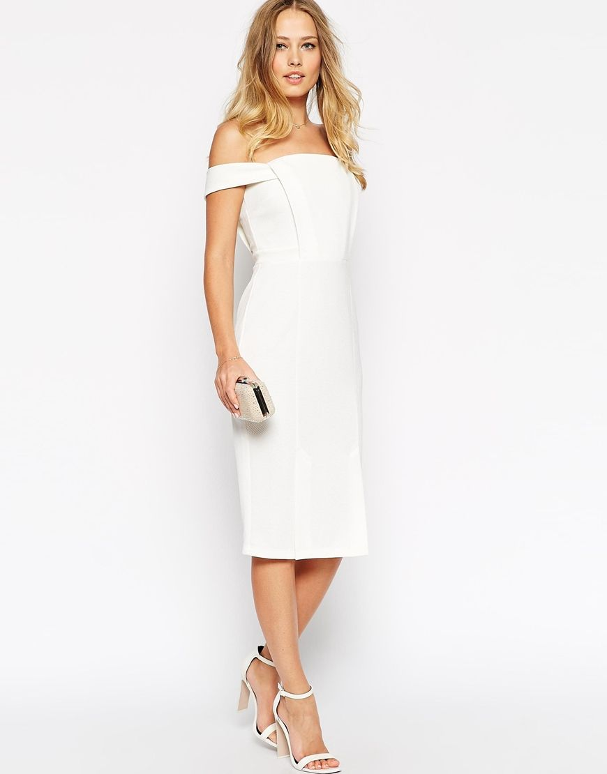 Image 4 of asos pencil dress in texture with off shoulder for Pencil dress for wedding