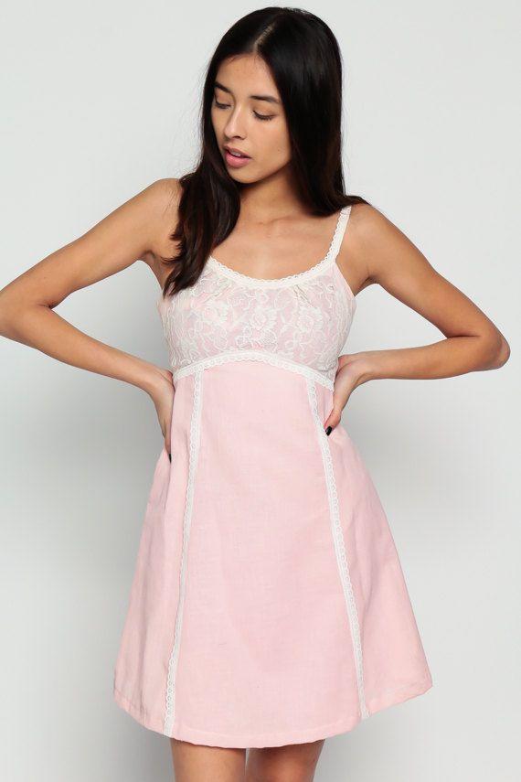 5fbf6bd091b Lace Mini Dress 70s Babydoll Baby Pink Pastel Boho by ShopExile ...