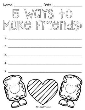 Free Kindergarten Friendship Worksheets