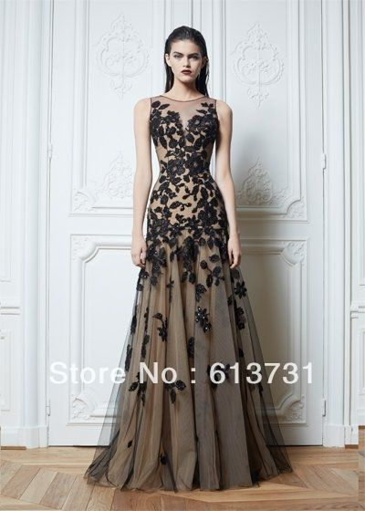 687d4507ccc 2013 New Arrival Sleeveless Black Lace Appliques Tulle Zuhair Murad Long  Evening Dresses Pageant Gowns BO1242  174.97