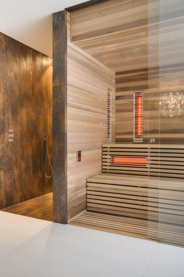 Luxe sauna in wellness thuis wellness design welness spa - design ideen tipps fitnessstudio hause