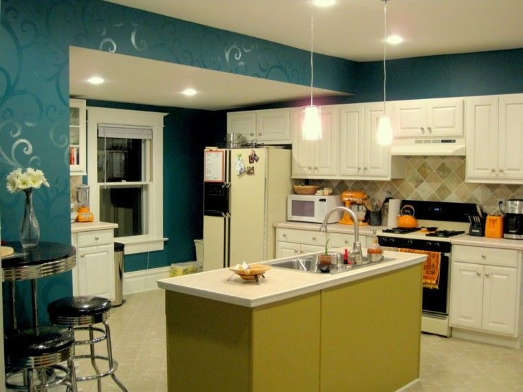 Cocinas pintadas con los colores de moda - 50 ideas | Ideas para