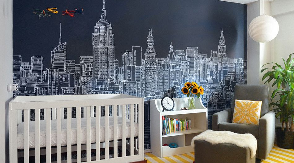 New York Skyline Vector Wall Mural Wallpaper For Kids Bedroom ...