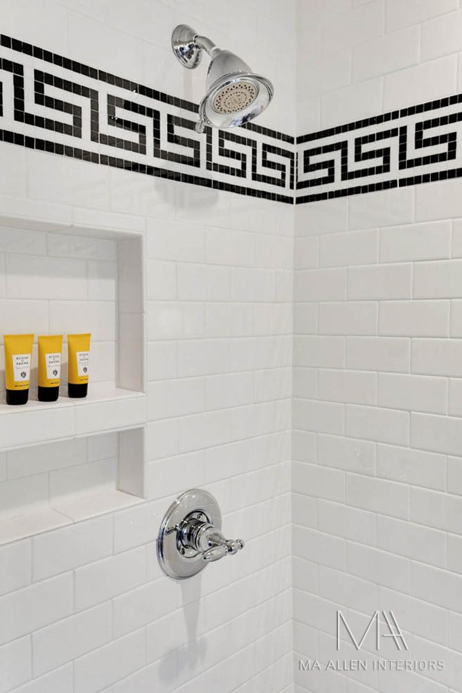 Greek key tile with subway tile MA ALLEN INTERIORS GALLERY
