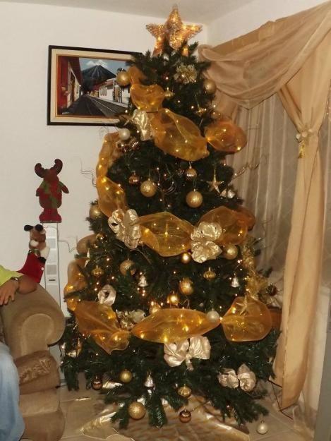 Lindos Arboles De Navidad Dorados Pinterest Arbol De Navidad - Decoracion-de-arboles-de-navidad