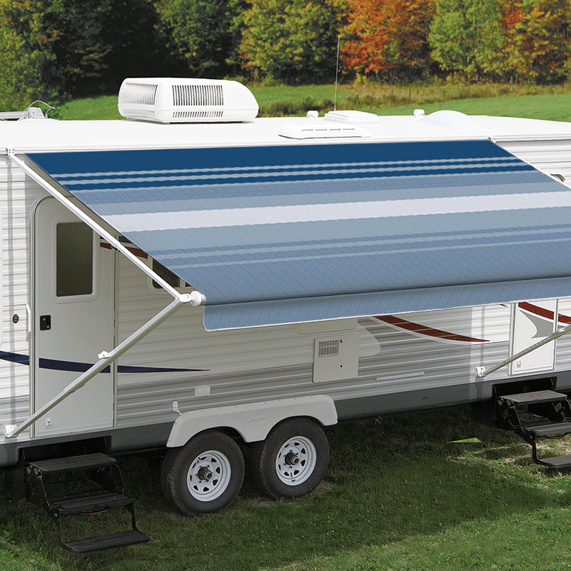Carefree S Ocean Blue Dune Roll Out Awning Features A Superior Vinyl Fabric Construction Called Weatherguard This Pr Roll Out Awning Carefree Awning Awning