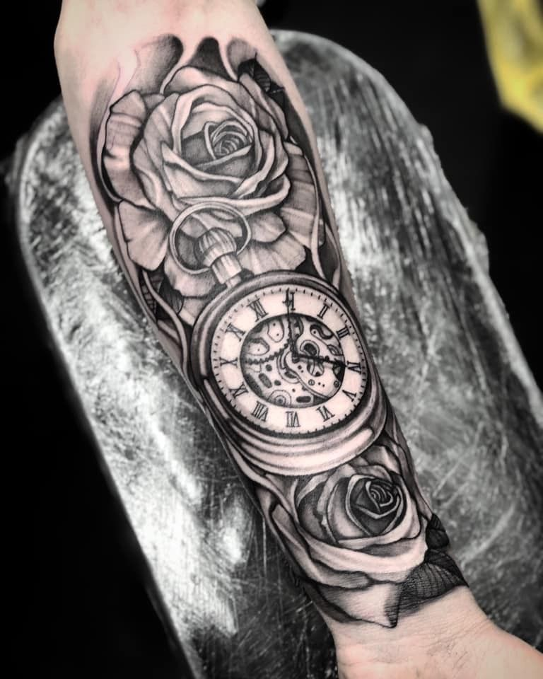 Timepiece And Roses In Black And White Forearm Sleeve Tattoos Cool Forearm Tattoos Men Tattoos Arm Sleeve